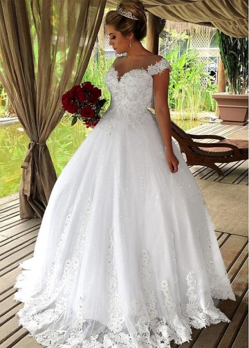 Fashionable Tulle Off-the-shoulder Neckline Ball Gown Wedding Dresses With Beaded Lace Appliques