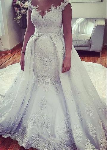 Splendid Tulle Jewel Neckline 2 In 1 Wedding Dresses With Lace Appliques & Detachable Skirt & Rhinestones