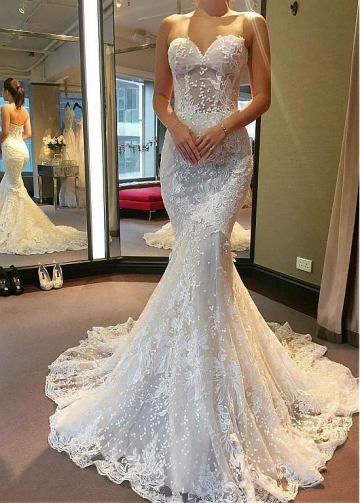 Fantastic Tulle Sweetheart Neckline See-through Bodice Mermaid Dress With Lace Appliques