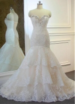 Alluring Tulle Sweetheart Neckline Mermaid Wedding Dresses With Lace Appliques & Beadings