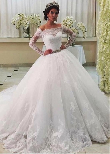 Gorgeous Tulle Off-the-shoulder Neckline Ball Gown Wedding Dress With Lace Appliques & Belt
