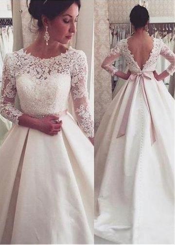 Modest Jewel Neckline A-line Wedding Dress With Lace Appliques & Beadings & Belt