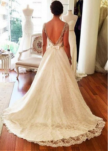 Fantastic Lace Sweetheart Neckline Natural Waistline A-line Wedding Dress With Beadings & Bowknot