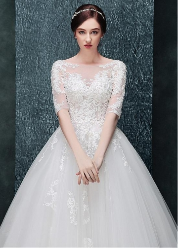 Fantastic Tulle Bateau Neckline A-line Wedding Dress With Beaded Lace Appliques