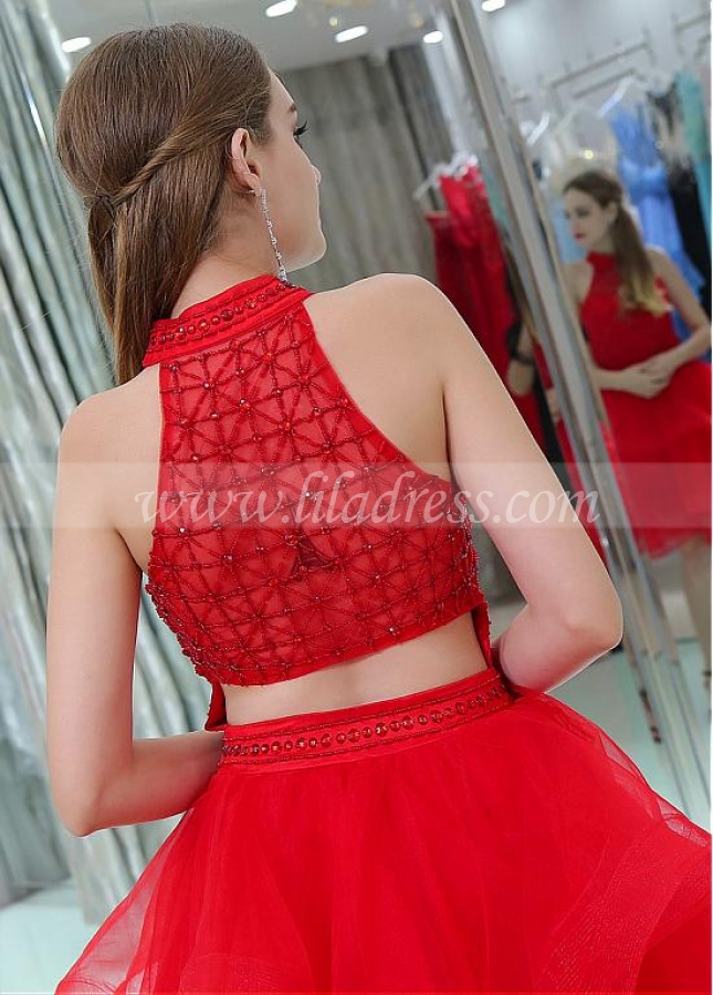 Fabulous Red Organza Halter Neckline A-line Cocktail Dresses With Beadings