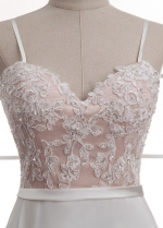 Elegant Tulle & Chiffon Spaghetti Straps Neckline Natural Waistline A-line Wedding Dress With Beaded Lace Appliques
