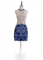 Fantastic Jewel Neckline Sheath/Column Cocktail Dress With Beadings