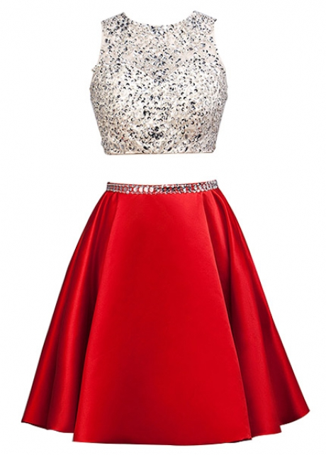 Sparkling Tulle & Satin Jewel Neckline Short A-Line Two-piece Homecoming Dress With Beadings