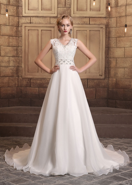 Elegant Organza Satin V-neck Neckline A-line Wedding Dresses
