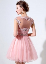 Pretty Tulle Bateau Neckline Short-length A-line Homecoming Dresses With Lace Appliques