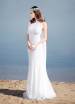Elegant Chiffon High Collar Neckline Sheath Wedding Dresses
