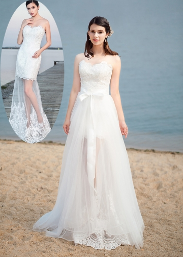 Elegant Tulle Sweetheart Neckline 2 In 1 Wedding Dresses With Lace Appliques