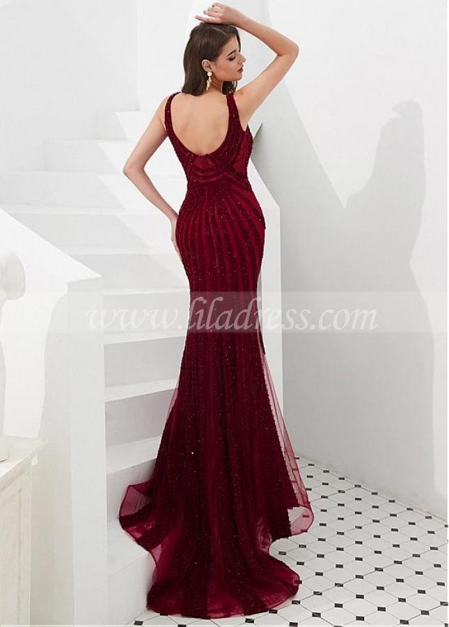 Splendid Lace V-neck Neckline Floor-length Mermaid Evening Dresses With Beadings