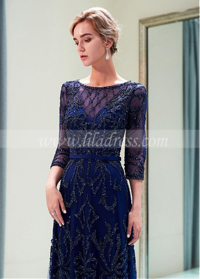 Gorgeous Tulle Bateau Neckline Full-length A-line Evening Dress With Beadings