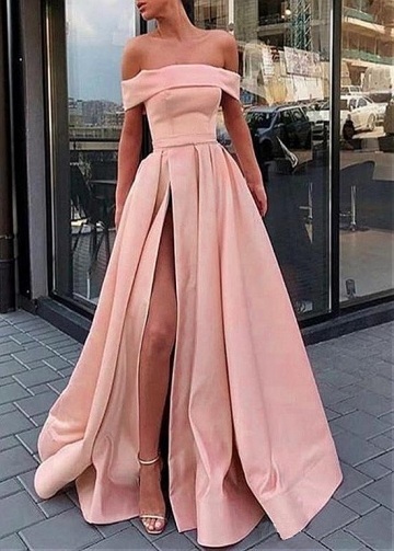 Classic Satin Off-the-shoulder Neckline Floor-length A-line Prom Dresses With Belt
