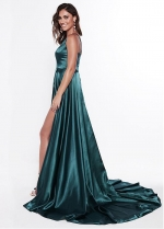 Lavish Stretch Charmeuse Satin Spaghetti Straps Neckline Floor-length A-line Evening Dresses With Slit