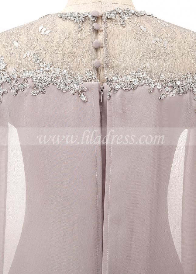 Modest Chiffon Jewel Neckline Sheath/Column Evening Dress With Beaded Lace Appliques