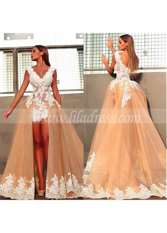 Splendid Champagne V-neck Neckline High Low Ball Gown Evening Dress With Lace Appliques