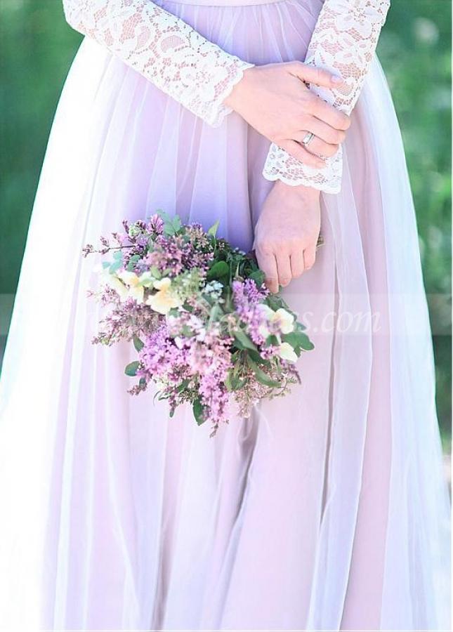 Amazing Lace & Tulle Scoop Neckline A-line Bridesmaid Dresses