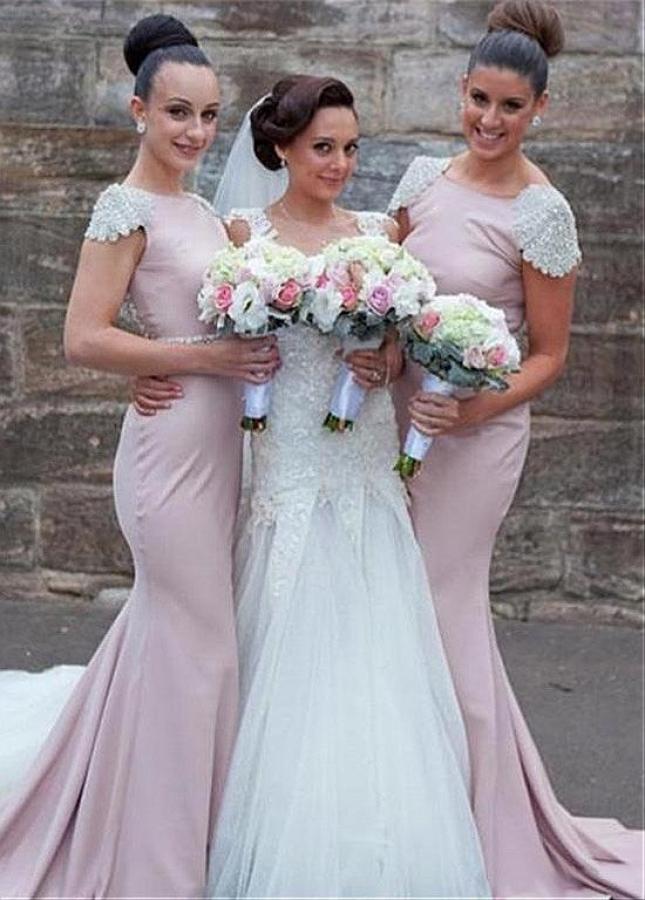 Alluring Bateau Neckline Mermaid Bridesmaid Dresses With Cap Sleeves