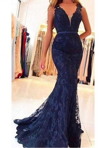 Excellent Lace V-neck Neckline Mermaid Evening / Prom Dress