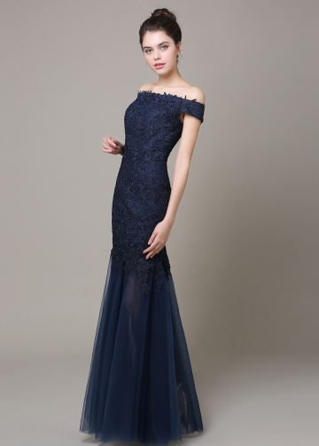 Unique Tulle & Satin Off-The-Shoulder Neckline Mermaid Military Dresses