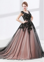 Tulle & Satin Scoop Neckline Cap Sleeves Ball Gown Evening Dress With Beadings & Lace Appliques