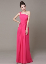Stunning Chiffon One Shoulder Neckline Sheath Bridesmaid Dress