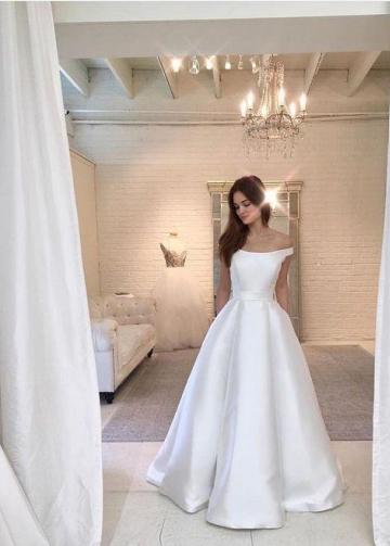 Simple Satin Bridal Dress Off-the-shoulder Vestido de noiva
