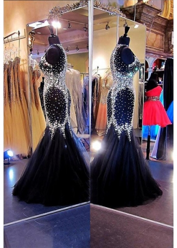 Gorgeous Tulle Jewel Neckline Mermaid Evening Dresses with Beadings & Rhinestones