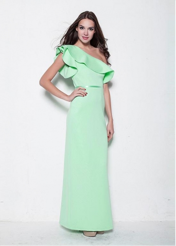 Elegant One-Shouldr Neckline Long Sheath Evening Dress