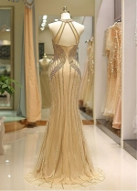 Alluring Tulle Floor-length Mermaid Evening Dress With Beading Chains