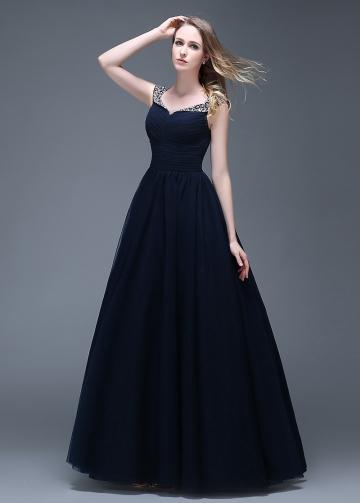 Wonderful Tulle V-neck Neckline Full-length A-line Prom Dresses