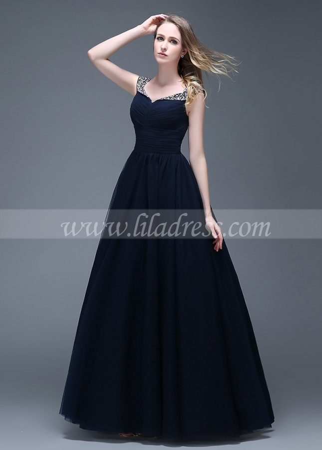 Wonderful Tulle V-neck Neckline Full-length A-line Prom Dresses