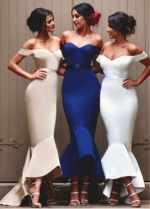 Fabulous Satin Off-the-shoulder Neckline Hi-lo Length Mermaid Bridesmaid Dresses With Belt