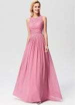 Glorious Lace & Chiffon Jewel Neckline A-line Evening Dresses