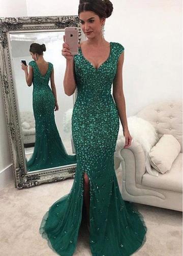 Sparkling Tulle V-neck Neckline Floor-length Mermaid Evening Dresses With Beadings