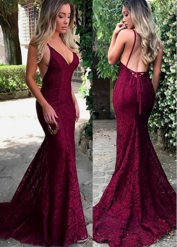 Elegant Lace Spaghetti Straps Neckline Floor-length Mermaid Evening Dresses