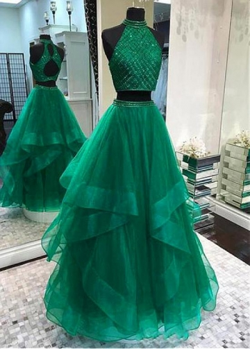 Junoesque Tulle High Collar Two-piece A-line Prom Dresses With Beadings