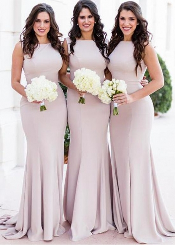 Unique Spandex Bateau Neckline Floor-length Mermaid Bridesmaid Dresses