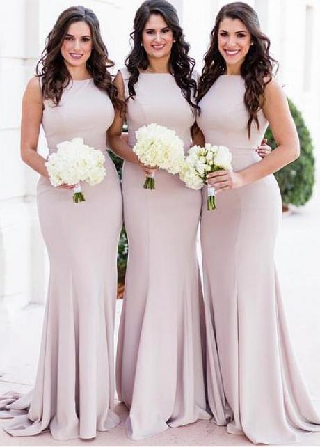 Unique Spandex Bateau Neckline Floor-length Mermaid Bridesmaid Dresses