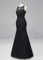 Stunning Lace & Tulle Bateau Neckline Mermaid Evening Dresses