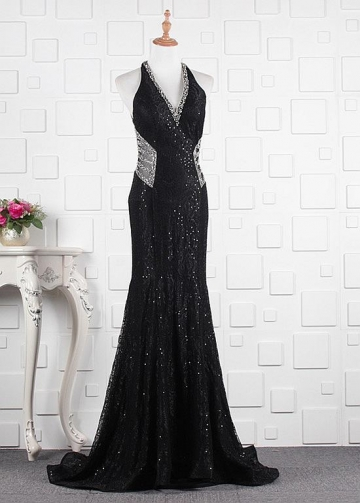 Winsome Lace & Tulle V-neck Neckline Floor-length Mermaid Evening Dresses With Beadings