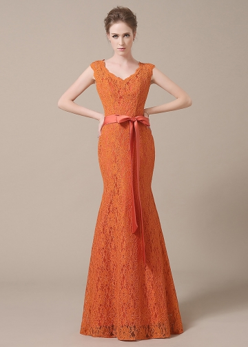 Elegant Lace V-neck Neckline Mermaid Orange Bridesmaid Dresses