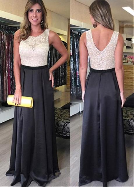 Delicate Satin & Lace Jewel Neckline Floor-length A-line Prom Dresses