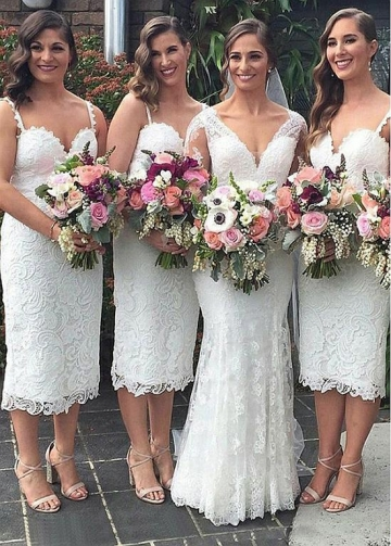 Junoesque Lace Spaghetti Straps Neckline Sheath/Column Bridesmaid Dresses
