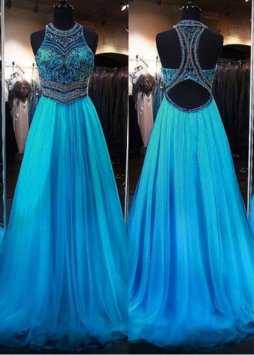 Distinctive Tulle Jewel Neckline Floor-length A-line Evening Dresses With Beadings