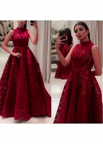 Marvelous Lace High Collar Floor-length A-line Prom Dresses With Beadings & Belt