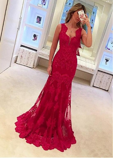 Winsome Tulle Floor-length Mermaid Evening Dresses With Lace Appliques