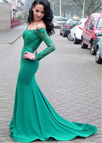Distinctive Lace & Acetate Satin Off-the-shoulder Neckline Floor-length Mermaid Evening Dresses With Belt